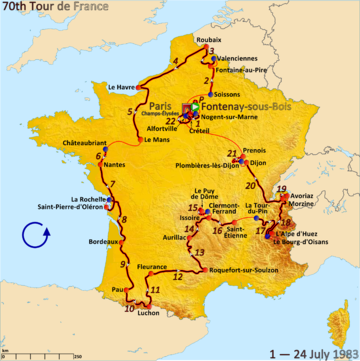 Route of the 1983 Tour de France