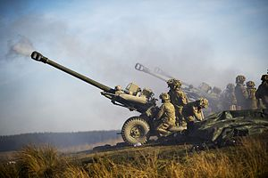 L118 light gun - Royal Artillery firing 105mm light guns on exercise in 2013