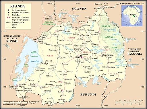 Ruanda deutsch UNO-Karte mit Neuer Gliederung
