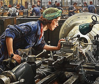 Occupational safety and health - This painting depicts a woman examining her work on a lathe at a factory in Britain during World War II. Her eyes are not protected. Today, such practice would not be permitted in most industrialized countries that adhere to occupational health and safety standards for workers. In many countries, however, such standards are still either weak or nonexistent.