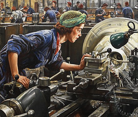 This painting depicts a woman examining her work on a lathe at a factory in Britain during World War II. Her eyes are not protected. Today, such practice would not be permitted in most industrialized countries that adhere to occupational health and safety standards for workers. In many countries, however, such standards are still either weak or nonexistent. Ruby Loftus screwing a Breech-ring (1943) (Art. IWM LD 2850).jpg