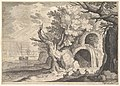 Ruined aqueduct with water spilling from it to a stream below, ships at sea beyond, a man reclining on the ground with three goats in the foreground, from the series 'Six landscapes in Tyrol' after Roelandt Savery MET DP828114.jpg