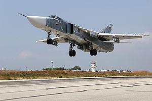 Bassel Al-Assad International Airport - Image: Russian Air Force Sukhoi Su 24 at Latakia Air Base