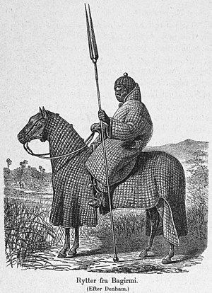 Cavalry - African horseman of Baguirmi in full padded armour suit
