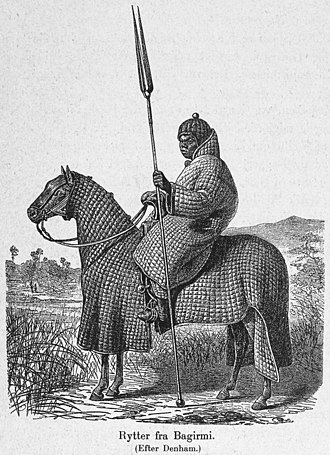 Africa - African horseman of Baguirmi in full padded armour suit