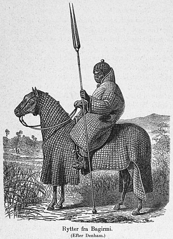 African horseman of Baguirmi in full padded armour suit Rytter fra Bagirmi.jpg