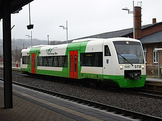 Local train to Erfurt at Suhl station Sudthuringenbahn in Suhl.JPG