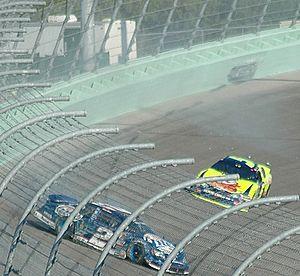 SAFER barrier - The SAFER barrier (light green) at Homestead-Miami Speedway after an impact from Kurt Busch's racecar
