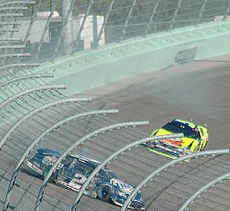 SAFER barrier - The SAFER barrier (light green) at Homestead-Miami Speedway after an impact from Kurt Busch's racecar