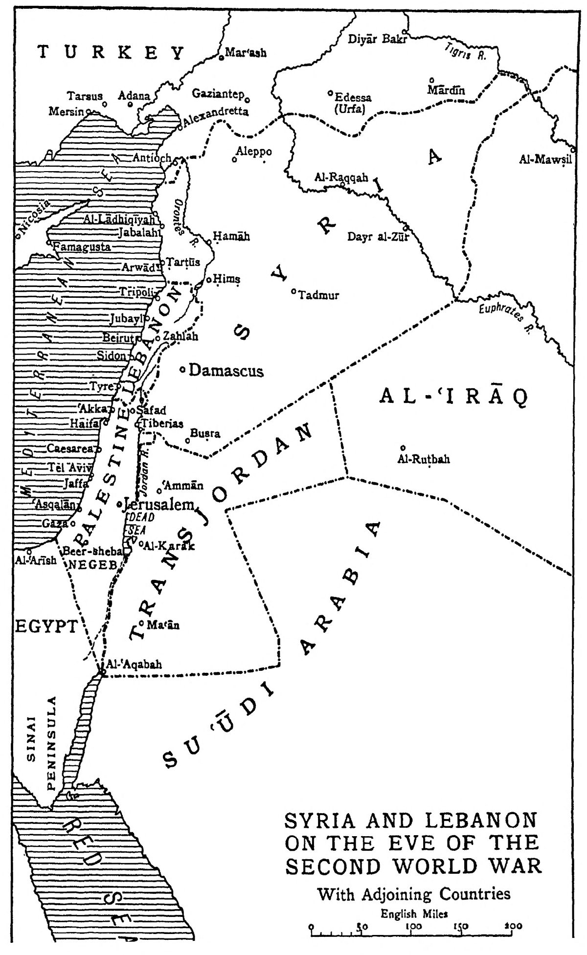 File SASH D254 Map Of Syria And Lebanon On The Eve Of World