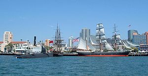Maritime Museum of San Diego - Image: SDMM ships museum overall