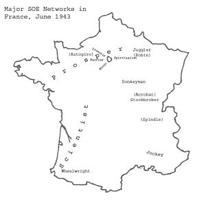 SOE F Section networks - Image: SOE (F) Networks in France June 1943