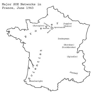 SOE F Section networks - Image: SOE (F) Networks in France June 1943