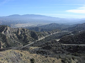 California State Route 33 - View northeast from near Pine Mountain Summit on SR 33, the highest elevation on the route; the Lockwood Valley and Mount Pinos are in the distance