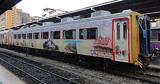 Rail transport in Thailand - A OTOP tourist train belonging to the Southern Line of the State Railway of Thailand