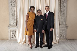 S. M. Krishna - Krishna(center) with US President Barack Obama and First Lady Michelle Obama during a reception at the Metropolitan Museum in New York.