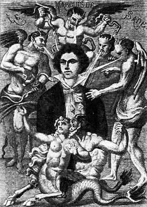 Marquis de Sade in popular culture - Depiction of the Marquis de Sade by H. Biberstein in L'Œuvre du marquis de Sade, Guillaume Appolinaire (Edit.), Bibliothèque des Curieux, Paris, 1912