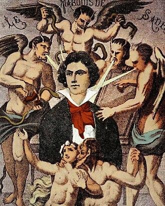 Marquis de Sade - Depiction of the Marquis de Sade by H. Biberstein in L'Œuvre du marquis de Sade, Guillaume Apollinaire (Edit.), Bibliothèque des Curieux, Paris, 1912