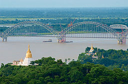 none  The new Irrawaddy Bridge at Sagaing, Ava Bridge behind