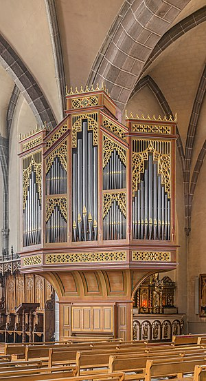 Pipe organ in the Saint Martin church in Naucelle, Aveyron, France
