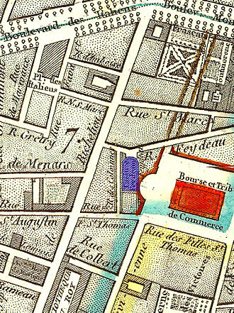 Théâtre Feydeau - The Salle Feydeau (in blue) on an 1814 map of Paris