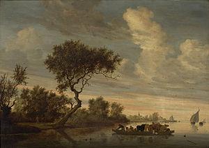 River Landscape with Ferry - Image: Salomon van Ruysdael Paisagem Fluvial com Balsa Transportando Animais