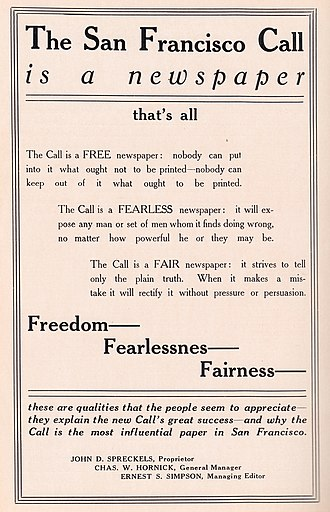 The San Francisco Call - 1911 advertisement for The San Francisco Call