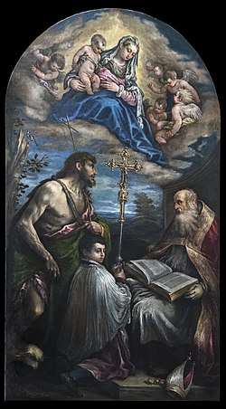 San Giacomo dall'Orio (Venice) - La Vergine in gloria con San Giovanni e San Nicolò , (1570) - Francesco Bassano.jpg