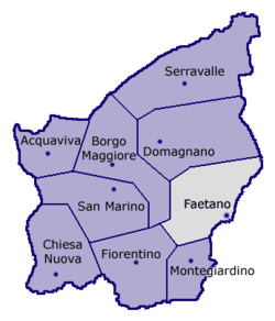 Location of Faetano within San Marino