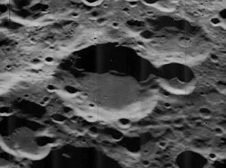 Sanford (crater) - Oblique Lunar Orbiter 5 image
