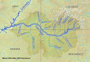 2015 Gold King Mine waste water spill - A map of the San Juan River watershed, which drains into the Colorado river, showing the northern tributary of the Animas River
