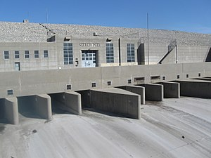 San Gabriel River (California) - Outlet gates at Santa Fe Dam