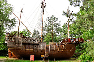 Medieval ships - A replica of the Santa Maria, the famous carrack of Christopher Columbus.