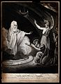 Saul bows to Samuel after the witch of Endor has conjured hi Wellcome V0025887.jpg