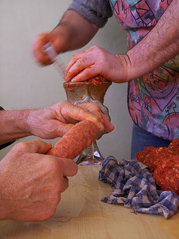 Ordinary sausage making in Hungary.