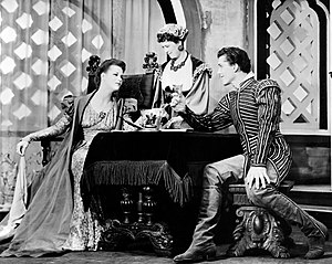 Jack Manning (actor) - Scene from Othello with Uta Hagen as Desdemona (left), Margaret Webster as Emilia, and Jack Manning as Roderigo.