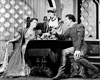Margaret Webster - Scene from Margaret Webster's Broadway production of Othello (1943) with Uta Hagen as Desdemona, Webster as Emilia, and Jack Manning as Roderigo
