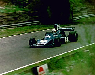 Jody Scheckter - Scheckter in a Tyrrell 007 at the 1974 British Grand Prix at Brands Hatch.