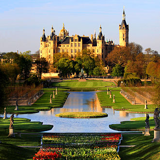 Palace - The Schwerin Palace in Germany, historical ducal residence of Mecklenburg-Schwerin since 1348
