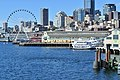 Seattle Great Wheel and piers from ferry at Colman Dock (WSF) 01.jpg