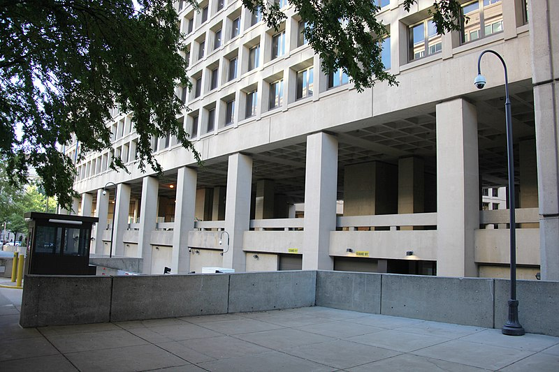 Second floor viewing arcade - east facade - J Edgar Hoover Building - Washington DC - 2012.jpg