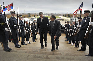 Aleksandar Vučić - Aleksandar Vučić and U.S. Secretary of Defense Leon Panetta in Washington, D.C.