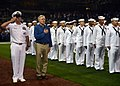 Secretary of the Navy Ray Mabus places his hand over his heart during the national anthem before a Major League Baseball game between the San Diego Padres and the Los Angeles Dodgers at Petco Park (Sept. 25, 2012).jpg