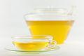 Sencha Japanisch Grüntee frisch aufgebrüht in Wagenfeld Tasse und dazugehoeriger Kanne von Jenaglas.jpg