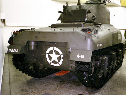 M4 and M4A1 (shown), the first Shermans, share the inverted U backplate and inherited their engine and exhaust system from the earlier M3 Medium Tank Sherman Dresden 2.jpg