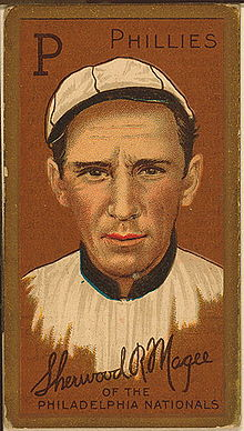 A baseball-card image of a man in an old-style white baseball cap and jersey