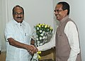 Shivraj Singh Chauhan calls on the Minister of State (Independent Charge) for Consumer Affairs, Food and Public Distribution, Professor K.V. Thomas to discuss issues related with PDS, in New Delhi on June 09, 2011.jpg