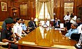 Shri Manohar Parrikar holding a meeting with the senior officials of the Ministry and Armed Forces after taking charge as new Defence Minister, in New Delhi. The Minister of State for Defence, Rao Inderjit Singh.jpg