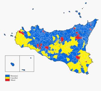 Sicilian regional election, 2017 - Image: Sicilian regional election 2017 map