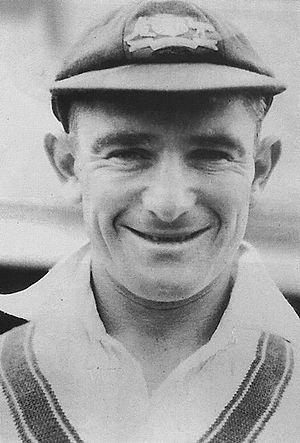 Cricket cap - Sid Barnes wearing a cricket cap